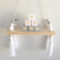 Nordic Home Wall Hanging Wooden Ornaments Beads Board Hanging Storage Shelf Kids Room Nursery Home Wall Decor with Beads Tassels