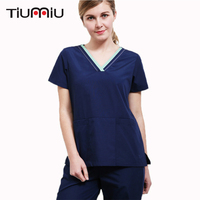New Fashion Medical Suit Surgical Clothing Scrub Sets Lady Summer Dental Pet Hospital Beauty Salon Work Wear Top and Pants Women