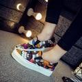 Primavera de Suela Gruesa Zapatos de Lona para mujer Coreana Graffiti Zapatos Slip-on Kevin Estudiantes Ocio Zapatos de Las Mujeres