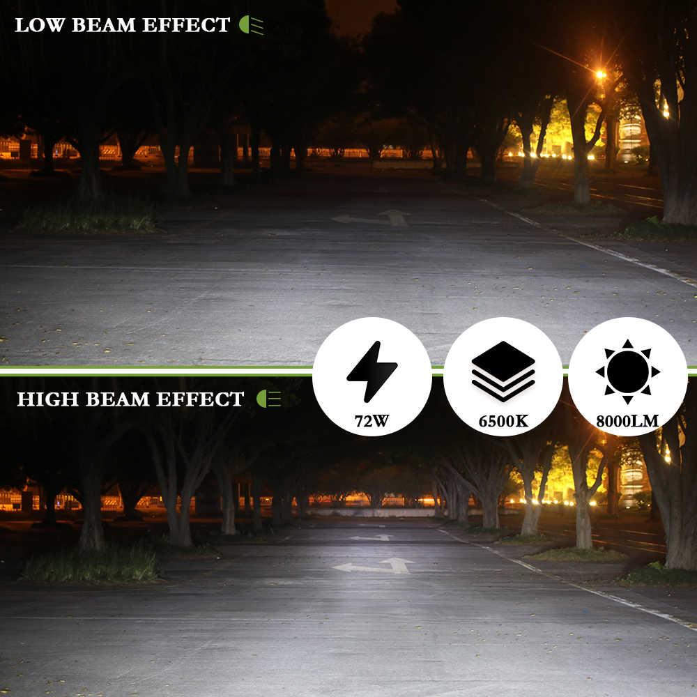 2Pcs Auto H4 Led H7 H1 H3 H11 H8 H9 9005 HB3 9006 HB4 Car Headlight Bulbs Hi/Lo Beam 72W 8000LM 6500k Car Led Light Headlamp 12V