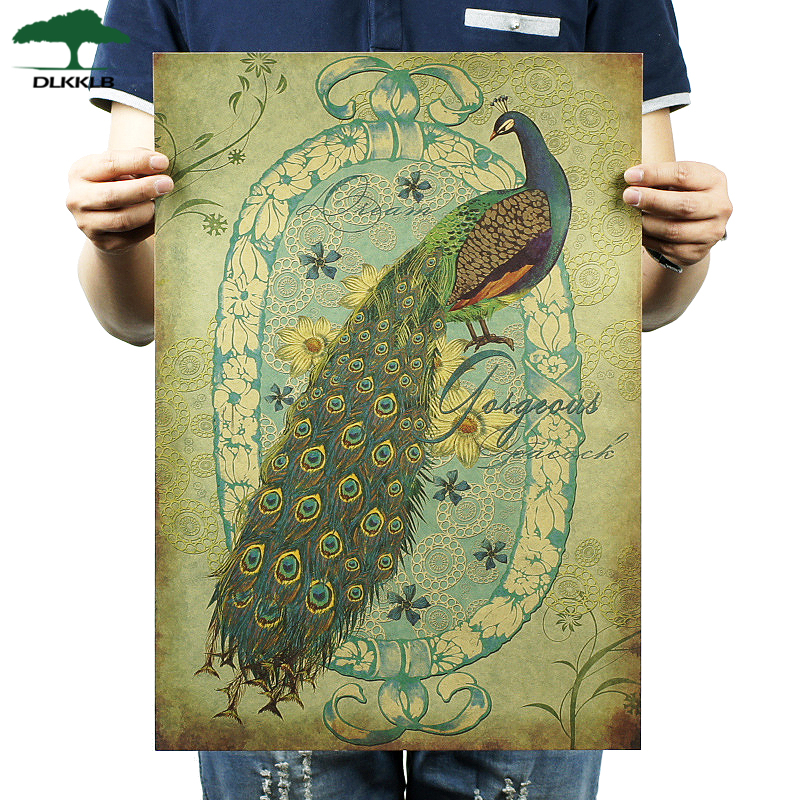 Dlkklb Classic Poster Wall-Sticker Cafe-Decoration Hand-Painted Peacock Vintage Kraft-Paper