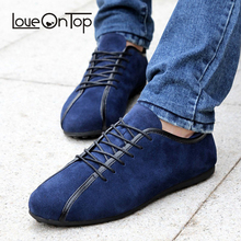Loveontop/Коллекция года; сезон весна; мужские замшевые кроссовки; Повседневная обувь; Новинка; модная мужская обувь на шнуровке; удобная мужская обувь на плоской подошве; Цвет Синий; кожаная мягкая обувь