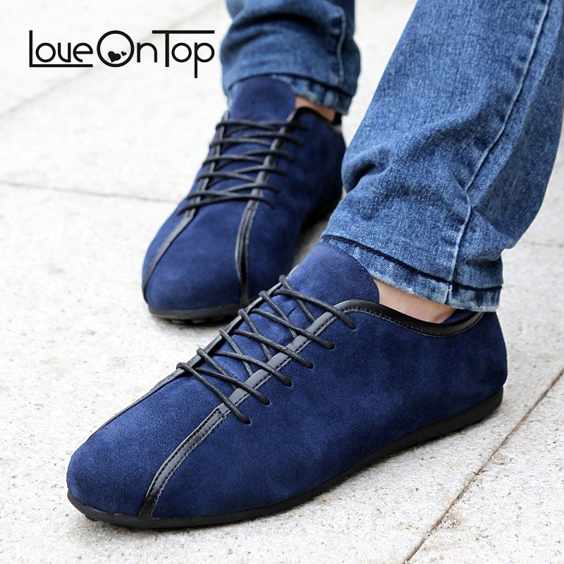 Loveontop 2019 Spring Men   Suede   Sneakers Casual Shoes New Fashion Lace Up Male Flat Comfortable Blue Man   Leather   Soft shoes