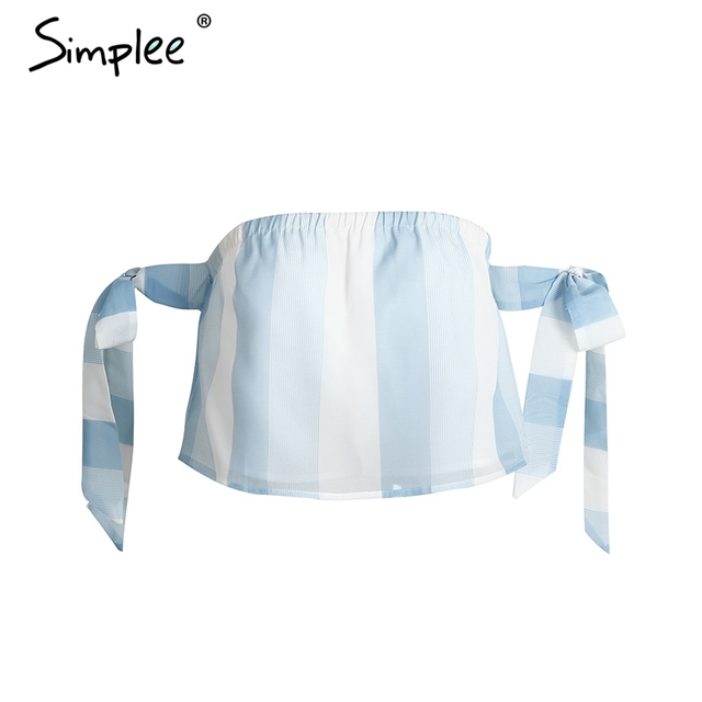 Simplee Organza bow striped blouse shirt Casual off shoulder short sleeve crop top Summer 2017 beach blouse blusa women tops