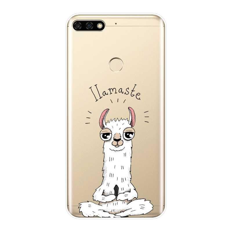 Задняя крышка чехол для Huawei Honor 7, 8, 9, 10 Lite фотоаппаратов моментальной печати 7 S 7X 7A 7C Pro 8X MAX 10 9 8 7 Kawaii милые Альпака животных мультфильм мягкий силиконовый чехол