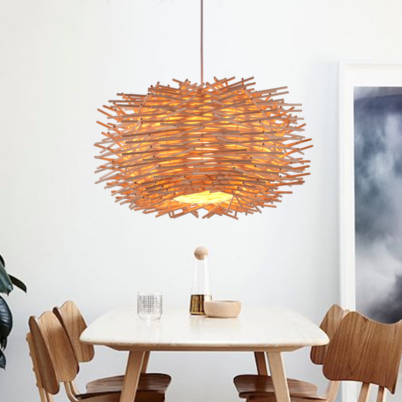 Cany art creative personality as the bird's nest droplight, the cane makes up the lamp the nest