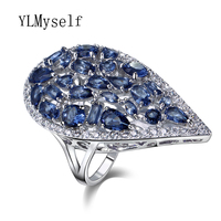Big Water Drop Shape Finger ring Blue Red Champagne Green White Colors CZ Crystal Zirconia anel Rings for women Fashion jewelry