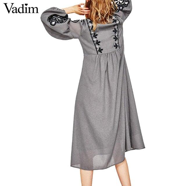 Women vintage flower embroidery long dress lantern sleeve bow tie o neck pleated vestidos casual brand retro dresses QZ2860