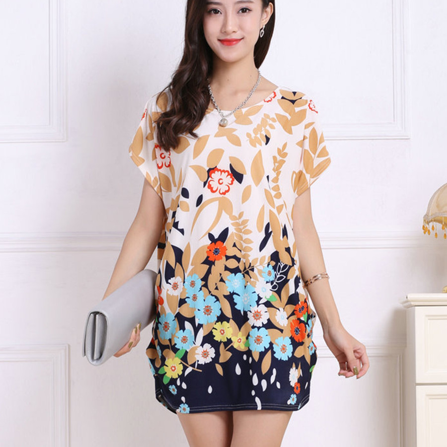 Buy Cheap 2017 spring summer women Dress Plus Size Women dresses short sleeve Loose Casual print tunic dresses big large 5xl
