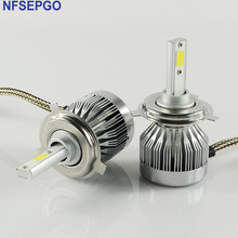 NFSEPGO Car H8 H11 H7 H1 H4 LED Headlights 2X30W 6500K 6000LM 12V COB Bulbs 2sides Diodes White Automobiles Replace Parts Lamp(China)