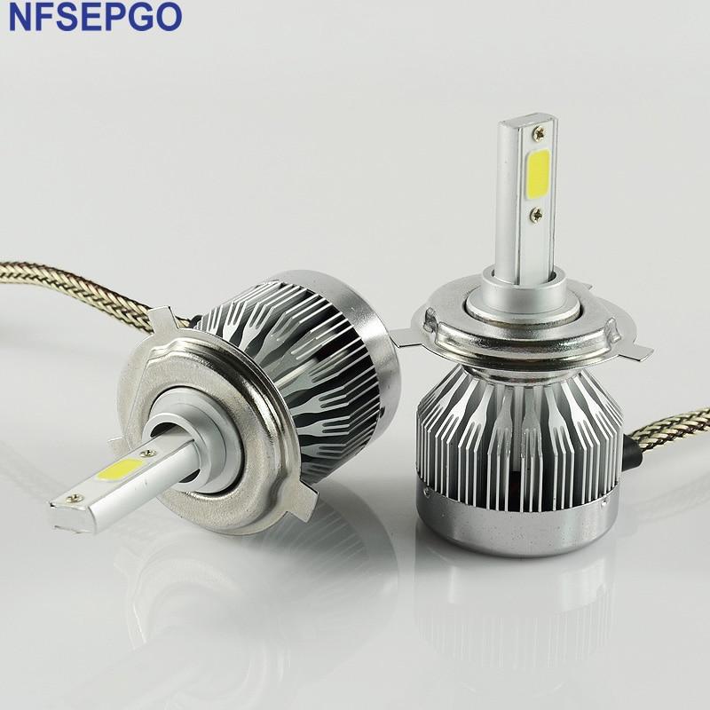 NFSEPGO Voiture H8 H11 H7 H1 H4 LED Phares 2X30 W 6500 K 6000LM 12 V COB Ampoules 2 côtés Diodes Blanc Automobiles Remplacer Pièces Lampe dans Phare Ampoules de Automobiles et Motos