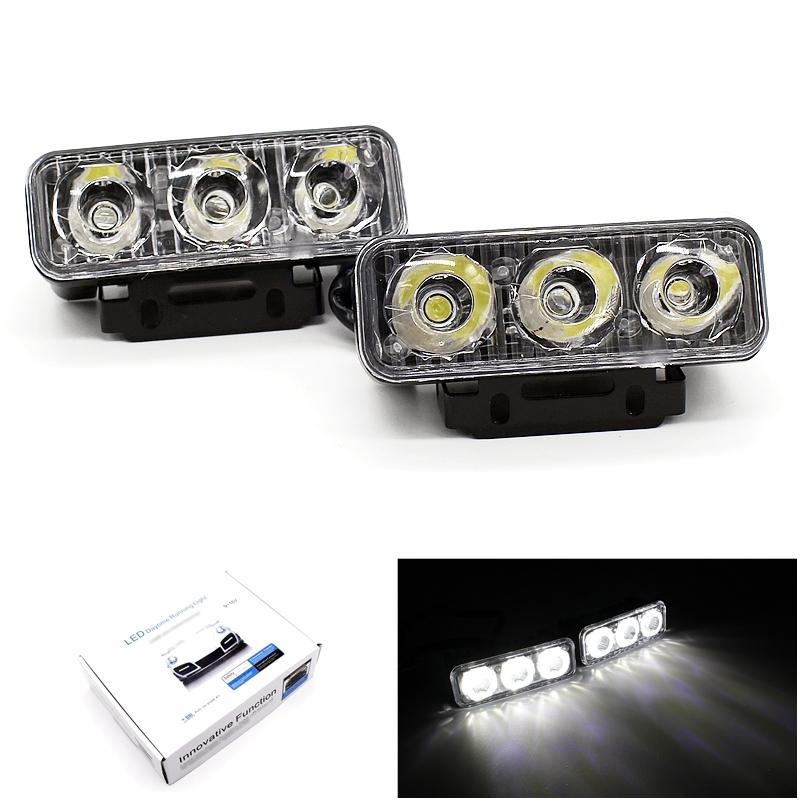 Prix pour Haute Puissance 2 Pcs/ensemble 6 Led 9 W Universal Car Light Source imperméable à l'eau DC12V DRL Feux Diurnes Auto Lampe Blanc Livraison gratuite