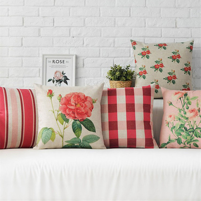 Nordic Rural Coral Pink Rose Home Decor Pillow  Plaid and Stripers Linen Cotton Cushion Decorative Throw Pillows   Free Shipping