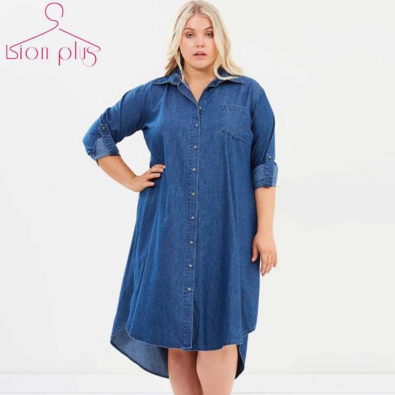 eef66360339073e Джинсовое платье 5XL 7XL 6XL плюс размер платье осень Свободная рубашка  платье с длинным рукавом новые