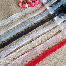 3Y/lot  quality stretch elastic lace ribbon 2.5cm width White embroidered Lace Trim african fabric trimmings