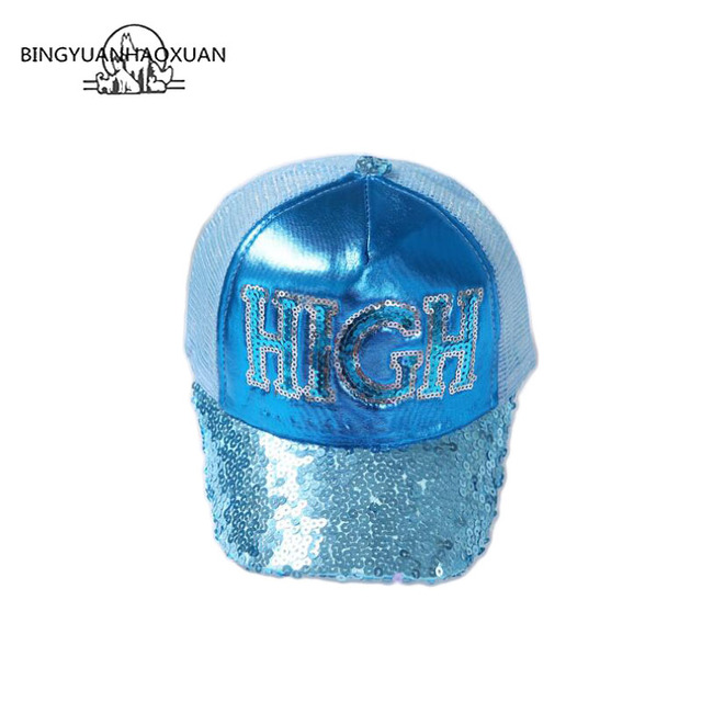 e9195cae9a4 BINGYUANHAOXUAN High Quality Sequins Letters Baseball Cap for Summer Girl  Boy Casual Adjustable Mesh Cap Raises