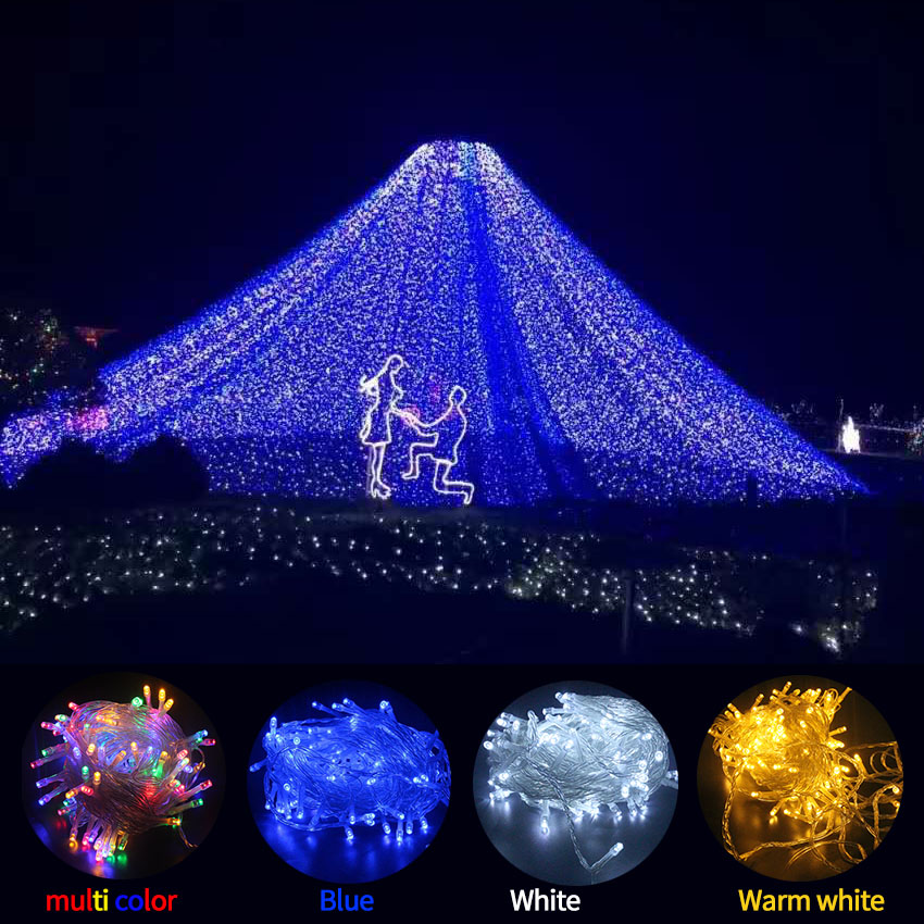 DC 31V 50m  100m LED Lights String Flashing Lamps 8 Modes Safety Voltage Holiday Light Christmas Garland Wedding Party  Lights