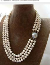 купить Women Gift Freshwater Jewelry Natural Triple Strand  White Round Freshwater Pearl Mabe clasp Necklace в интернет-магазине