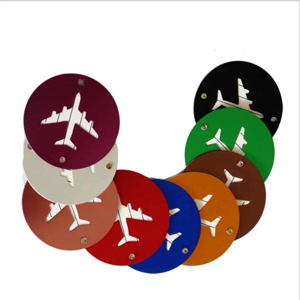 Mode Tasche 5 Farben reise zubehör gepäck tag Flugzeug Runde Form Tragbare Sichere Reise Koffer label