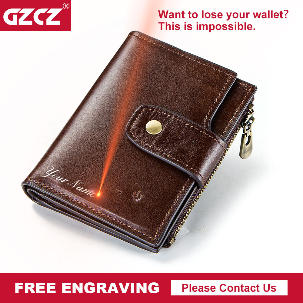 GZCZ Genuine Leather Wallet Men Coin Purse Small Male Clutch Wallets Portomonee Hasp Mens Money Bag Card Holder Free Engraving contact s genuine leather men wallets male short purse standard wallets small clutch card holder coin purses money male bag 2017