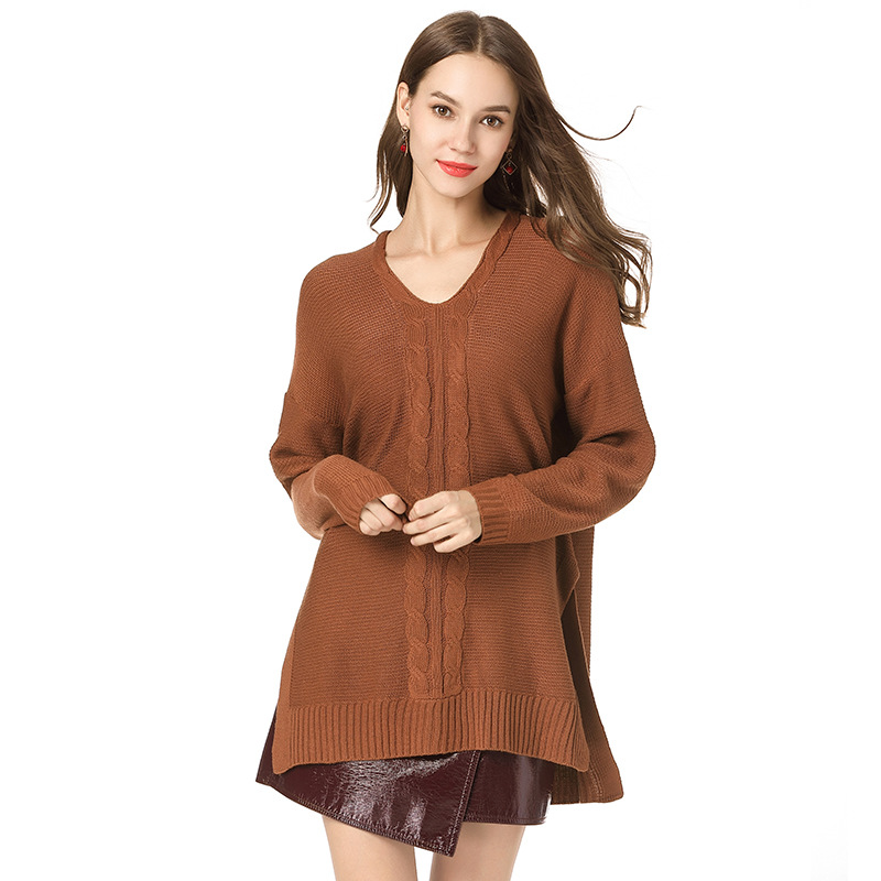 4748a675137 Fashion Simple Sweater Women Solid Mid Long Knitted Pullover Autumn Winter V -Neck Loose Casual