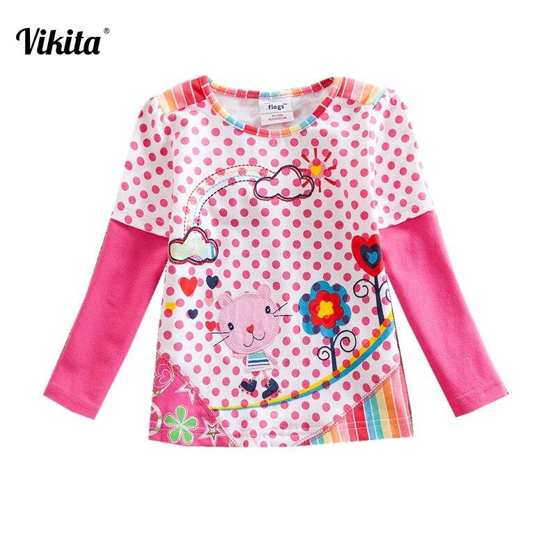 VIKITA Brand Girl t shirt Flower Long Sleeve Kids t-shirts Animal Cartoon Shirts Kids Tops T-shirts for Children Clothing G622 стоимость