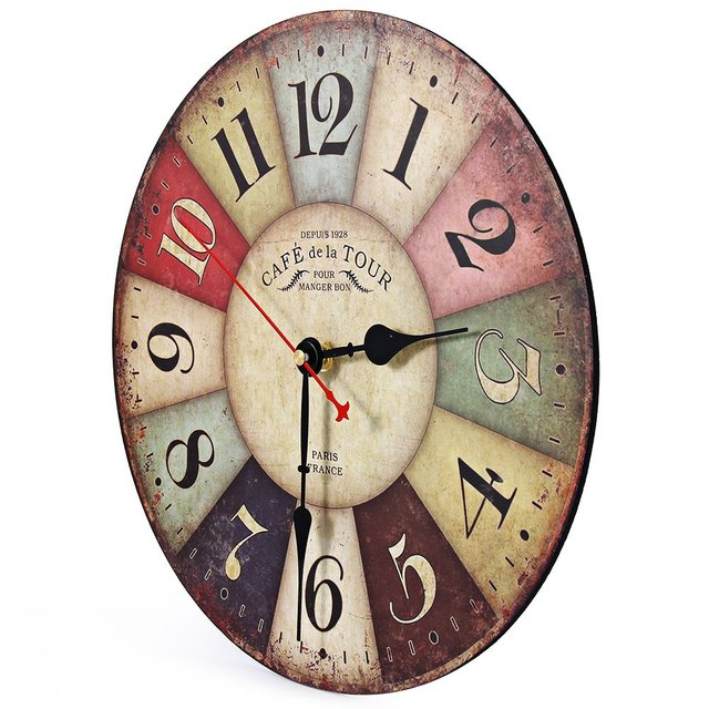Hot selling Round Vintage France Paris Colourful French Country Tuscan Style Paris  Creative  Wood Wall Clock Watch