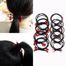 Ponytail Hair Sale Accessories Colorful Popular For 1PC High Quality Scrunchie Elastic Hair Bands Girls Red Beads LNRRABC Beads(China)