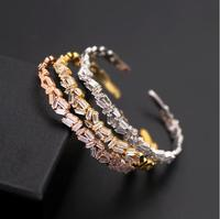 High Quality Fashion Women Sparkle Zircon Irregularly Long AAA Zircon With C Shaped Open Bracelet 3