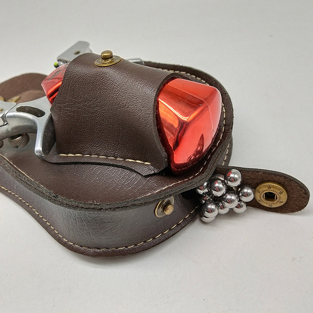 Professional steel ball Slingshot package Outdoor sports leather Slingshot bag back through the belt for hunting 4