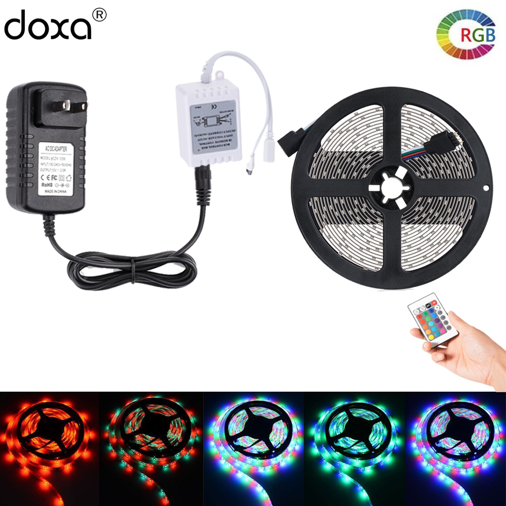 BLYN 10M LED Strip RGB Rope Waterproof 2835 SMD Flexible Diode Tape 5M +24 Key Remote RGB Controller +DC12V 2A 3A LED Adapter waterproof 300 3528 smd led rgb flexible strip w 24 key controller 12v 5m