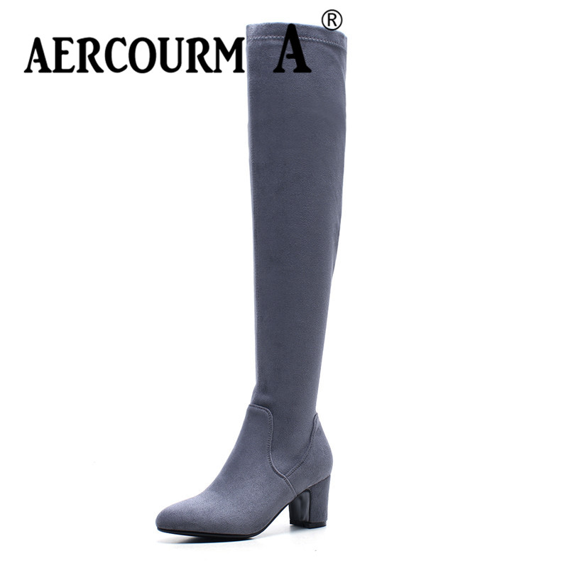 Aercourm A 2018 Women Over Knee Boots Women Boots Zipper Boots Women Long Boots Women Flock Boots Solid Color Boots Round Toe