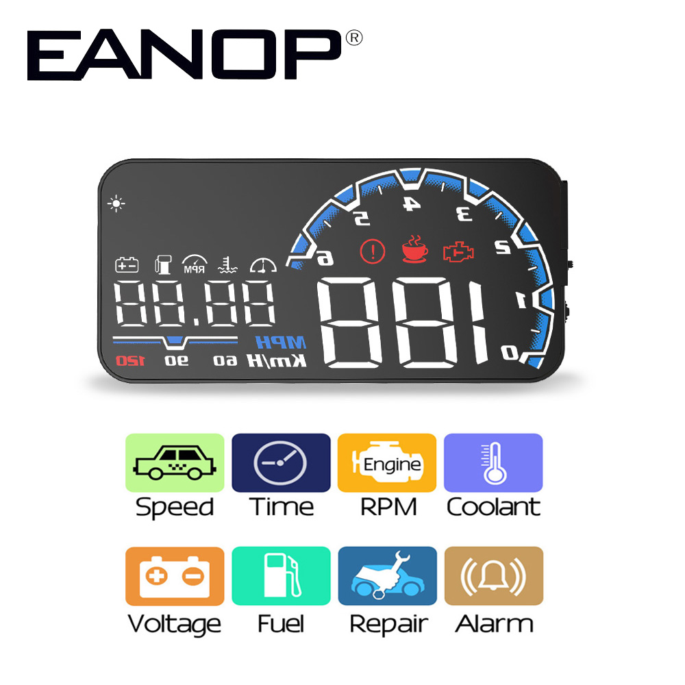 EANOP sBright Car HUD Head up display car detector obd2 Hud Projector Clock For BMW,Benz etc