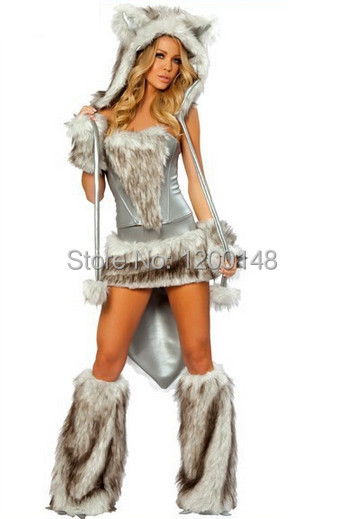 2013 New Duluxe Frisky Cat Wolf Halloween Cosplay Costume Outfit Fancy Frisky Lace Up Corset Dress W/ Big Tail For Woman 4pc/set