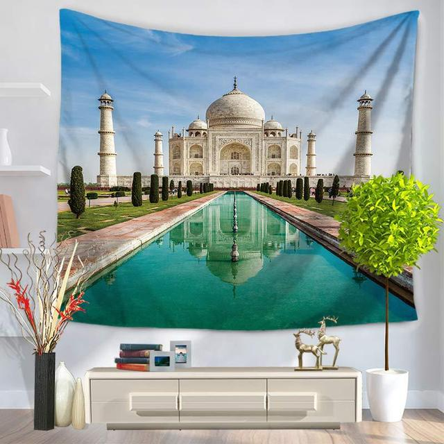CAMMITEVER Taj Mahal Polyester Tarihi Doğal ABD özgürlük heykeli Asılı Goblen 150X130 cm Battaniye Yurt Yoga Mat Ev Dekor
