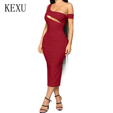 KEXU New Fashion Summer Sexy Off Shoulder Slim Bodycon Maxi Dress Elegant Women Hollow Out Sleeveless Party Club Pencil Dress агата кристи miss marple s final cases