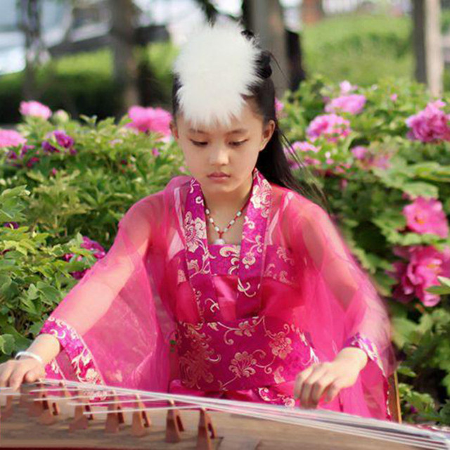 Китайский Тан Стиль Детей Платье Девушки Великолепный Цветочный Древний Костюм Дети Sweet Классического Танца Одежда Фотография Костюм