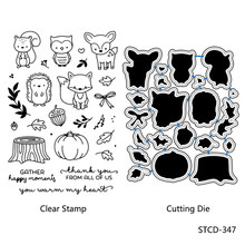 ZhuoAng Little Animals Clear stamps and Metal Cutting Dies Set for DIY Scrapbooking Photo Album Decoretive Embossing Stencial(China)