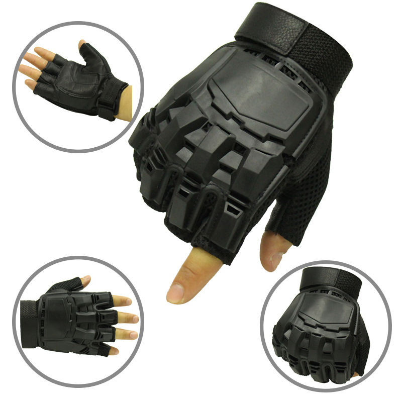 Outdoor Military Army Training Gloves Men Tactical Gloves Combat Airsoft Paintball Hard Finger-less Gloves Climbing Sportswear