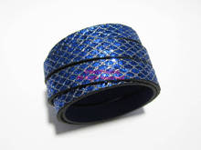 Flat leather cord 10mm Blue glitter 10x2mm strips -80cm