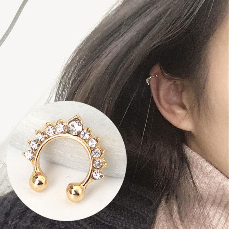 Yuedane 2019 New Clip Earrings For Women Punk Nose Ring Non Pierced Hollow U-shaped Ear Bone Cuff Invisible Brincos Bijou