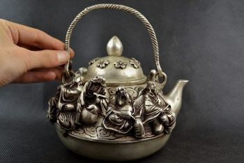 Collectible Old Decorate Handwork Miao Silver Carving Famous 8 Immortal Tea Pot