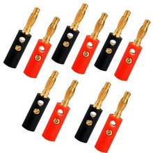 10pcs/lot 2016 Hot Banana Plug Gold Plate 4mm Connector Plugs For Audio Video Speaker