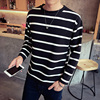Classic Striped Men S T Shirts Long Sleeve Black White Thick Casual T Shirt Men Autumn