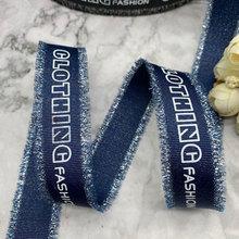 Blue Alphabetical ribbon DIY Clothing Cotton tassel-colored denim bow accessories handmade sewing
