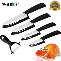 WALFOS High Quality Kitchen Knife Ceramic Knife Set 3 4 5 6 Inch With Peeler Zirconia