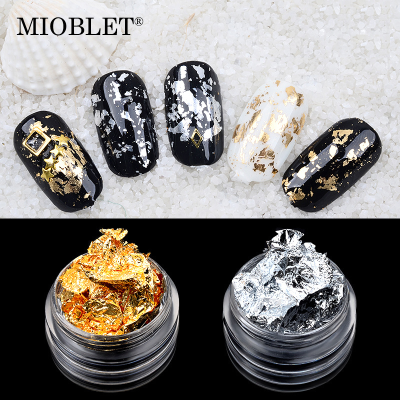 New Arrivals 1 Box Gold Silver Aluminum Foil Paper Nail Art Sticker 3D Glitters DIY Manicure UV Gel Polish Nail Decoration Tools rose gold silver black nail beads caviar studs multi size diy 3d nail art uv gel lacquer decoration in wheel manicure accessorie