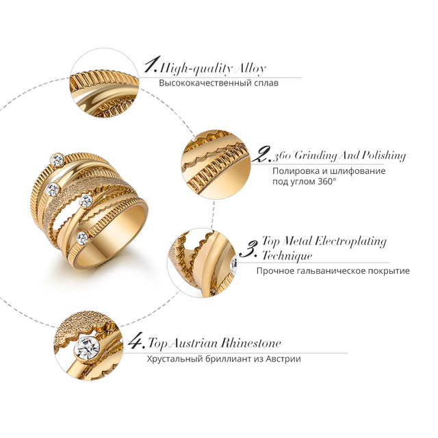 Wide Gold Plated Multilayer Hollow Ring