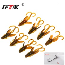 Купить с кэшбэком FTK Fishing Lure 20 pcs Insect Baits Wobbler Soft Jig Head Gift Wobbling Fishing Tackle Swimbait Bass Silicone Saltwater GBB