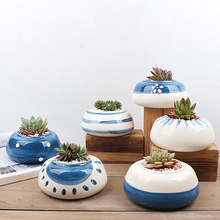 6pcs/set Blue Painting Ceramic Planter Succulent Plant Pot Handmade Porcelain Desktop Bonsai Planter Home Decor Flower Pot
